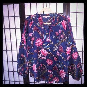 Floral spring summer loose blouse Asian style Loft